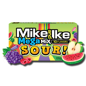 Mike and Ike Mega Mix Sour 10 Flavours 141g