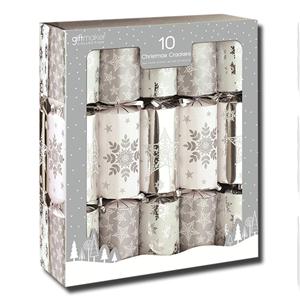 Giftmaker 10 Christmas Crackers Silver White Stars