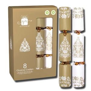 Giftmaker 10 Christmas Crackers Cream & Gold