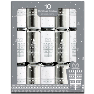 Giftmaker 10 Christmas Crackers Contemporary Silver & White