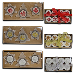 Snow White Christmas Shaped Candle Set and Holders