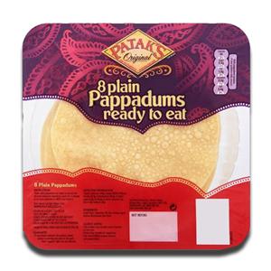 Patak's Plain Pappadums 8 Ready to Eat