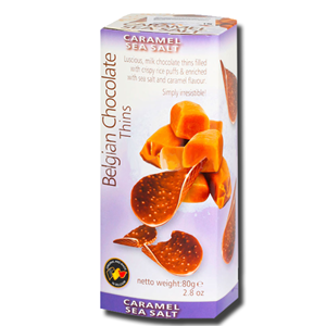 Royal Chocolates Belgian Chocolate Thins Caramel Sea Salt 80g