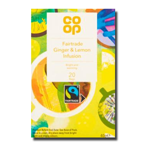 Coop Fairtrade Ginger &Lemon Tea Infusion 20's