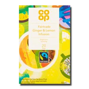 Coop Fairtrade Ginger &Lemon Tea Infusion 20's