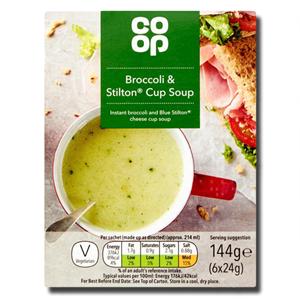 Coop Broccoli & Stilton Cup Soup 6x24g