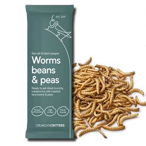 Crunchy Critters Worms Beans & Peas Sea Salt & Black Pepper 30g