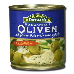 Feinkost Dittmann Azeitonas Verdes Recheadas com Creme de Queijo Azul 200g