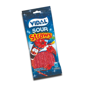 Vidal Gomas Sour Strawberry Straws 100g