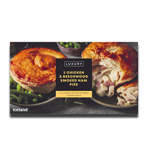 Iceland Luxury 2 Chicken & Beechwood Smoked Ham Pies 440g