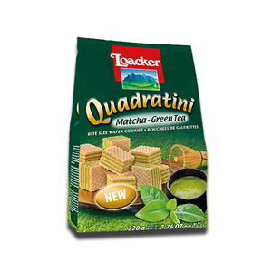 Loacker Quadratini Wafer Cookies Green Tea 250g