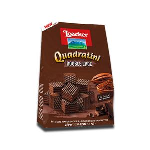 Loacker Quadratini Wafer Cookies Double Choc 250g