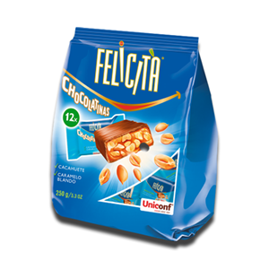 Uniconf Felicità 6 Chocolate Bars with Caramel and Peanuts 125g