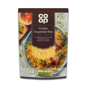 Coop Rice Vegetable Golden Carrot Sweetcorn and peas 250g
