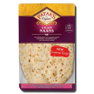 Pataks Plain Naan Bread 2s 280g