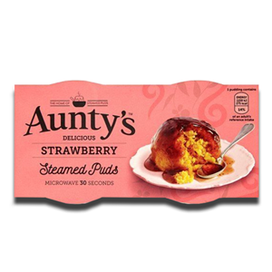 Aunty's Strawberry Steamed Puddings 2x100g